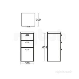 Ideal Standard Concept Furniture -  Ideal Standard E6492wg White Gloss Concept Vanity Unit 633 X300mm 3 Drawers
