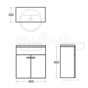 Ideal Standard Concept Furniture -  Ideal Standard E6493sx Dark Oak/walnut Concept Vanity Unit 600mm Wall Mount 2 Doors