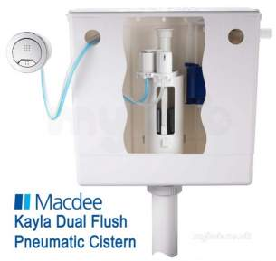 Macdee Cisterns -  Macdee Cpl63cp Chrome Pneu-compact Ii Dual Flush Concealed Cistern With Chrome Button