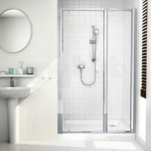 Mira Ace Shower Enclosures -  Mira 108403 Silver Flight Ace 400mm Framed Inline Shower Panel 4 Mm Glass