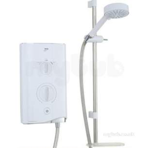 White/chrome Sport 9.0 Kw Thermostatic Electric Shower With 4 Spray Handshower