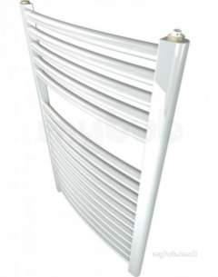 Caradon Ladder Towel Rails -  Stelrad 147007 White Curved Ladder Heated Towel Rail 750x600mm