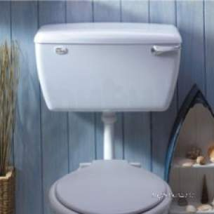Thomas Dudley Cisterns -  White Tri-shell High Level Cistern With Side Supply Outlet In White
