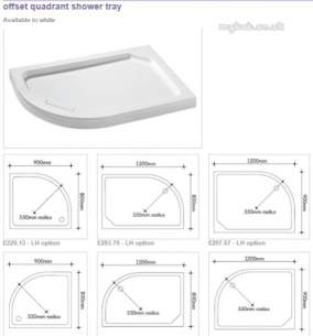Manhattan Shower Enclosures -  Duralite V2 1200 X 900mm Quadrant Tray Rh
