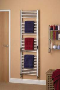 Caradon Ladder Towel Rails -  Stelrad 142768 Chrome Straight Ladder Heated Towel Rail 1800mm H X 500mm W