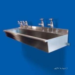 Pland Catering Sinks and Stands -  Pland 3050mm Wash Trough C/w Tap Land Ss