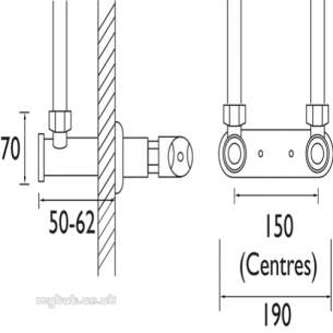 Gummers Commercial Showers -  Sirrus 50-90mm Concealed Wall Mount Ch