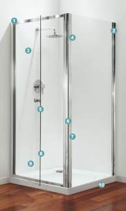 Coram Premier Shower Enclosures -  Coram 800 Premier Quad Door And Frame Set Polished Silver/satin Glass
