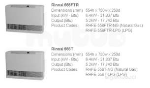 Rinnai Range Of Gas Wall and Water Heaters -  Rinnai 556t Gas Wall Heater Lpg Exc Flue