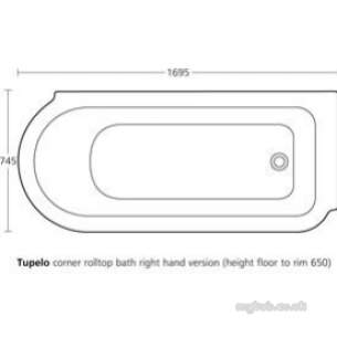 Ideal Standard Sottini Baths and Panels -  Ideal Standard Tupelo E5641 170 X 750mm Right Hand Corner Bath Wh