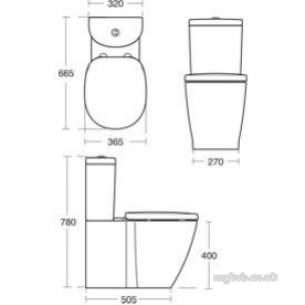 Ideal Standard Sottini Ware -  Ideal Standard Round Cistern Bsio White 6/4l Dfv C/c