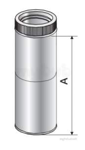 Specflue Twinwall System -  130mm Iflue Adj Pipe 160-230mm Short