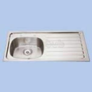 Twyfords Commercial Sanitaryware -  Vecta 2th Inset Sink No O/flow Rh Drainr Ss8601ss