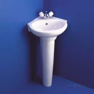 Ideal Standard Studio -  Ideal Standard Studio 450mm Two Tap Holes Corner Ped Basin White