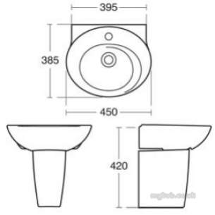 Ideal Standard Sottini Ware -  Ideal Standard Swirl E316301 450mm One Tap Hole H/r Basin White