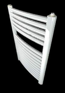 Caradon Ladder Towel Rails -  Stelrad 147006 White Curved Ladder Heated Towel Rail 750x500mm