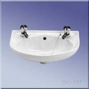 Twyford Mid Market Ware -  Advent Ad4712 450mm Two Tap Holes Basin White Ad4712wh