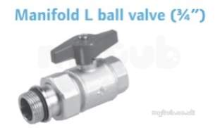 Uponor Manifold L Ball Valve 3/4 Inch Mt/ft
