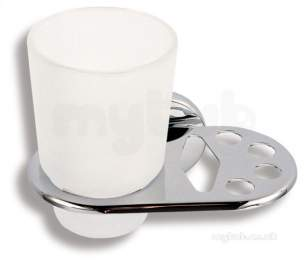 Metal Znojmo Nova Bathroom Accessories -  Nova 1 Toothbrush And Mug Holder Chrome