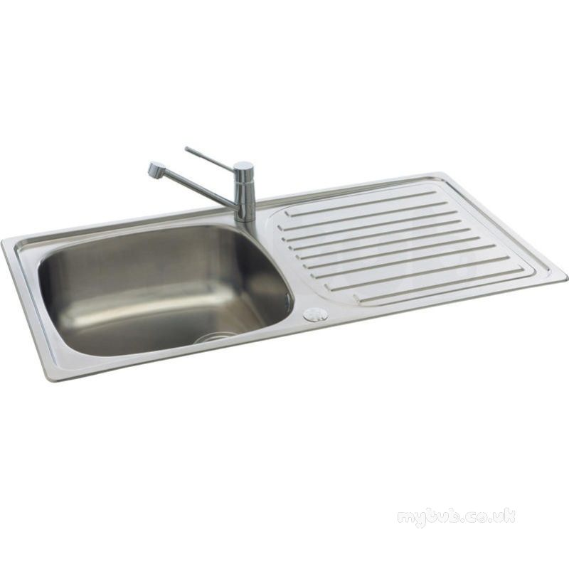 ... - Contessa Kitchen Sink With Left Hand Large Single Bowl And Drainer