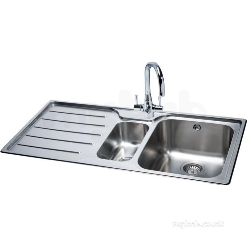Isis Deep Square 1.5 Bowl Kitchen Sink With Left Handed Drainer : Carron