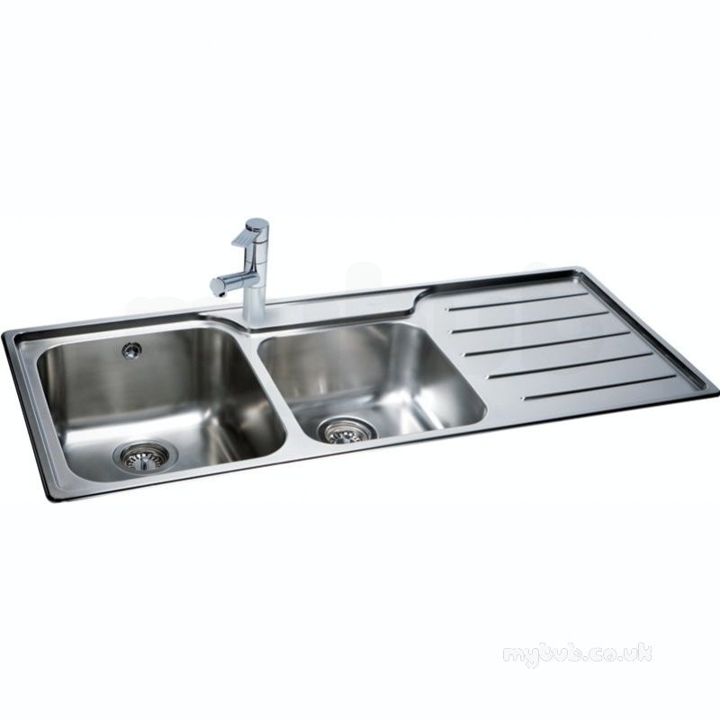 Isis Deep Square Double Bowl Kitchen Sink With Right Hand