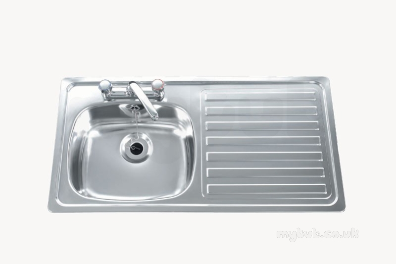 Beau Carron Trade Sinks   Unisink Two Tap Hole Kitchen Sink With Right Hand  Single Bowl And