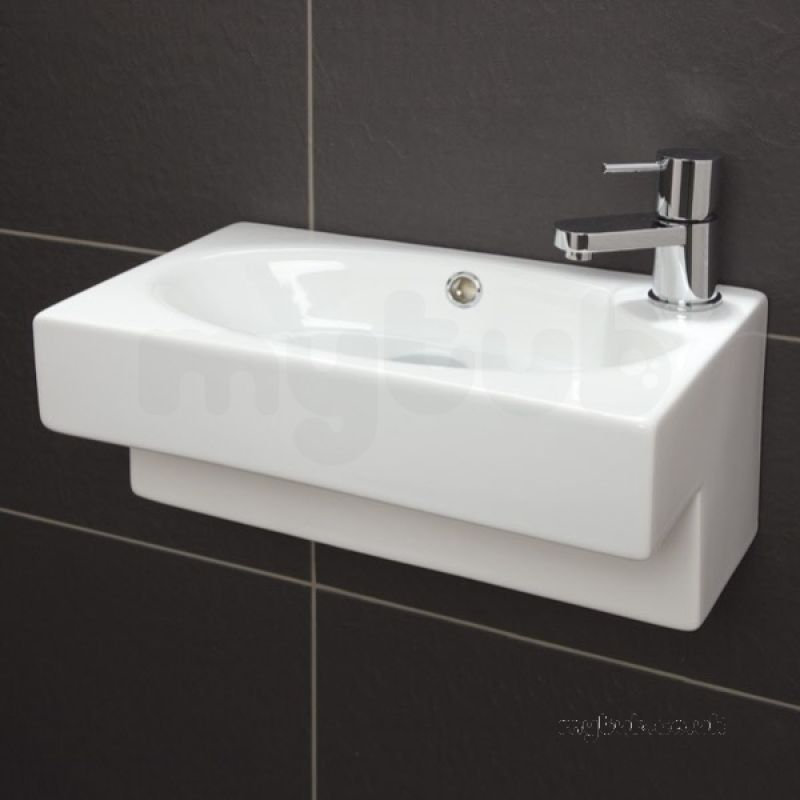 Hib 9660 white athena rectangular cloakroom wash basin one for 200mm wide kitchen unit