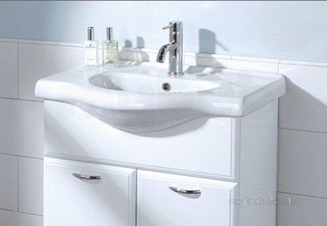 Hib white denia 650mm wash basin one tap hole hib for 200mm wide kitchen unit