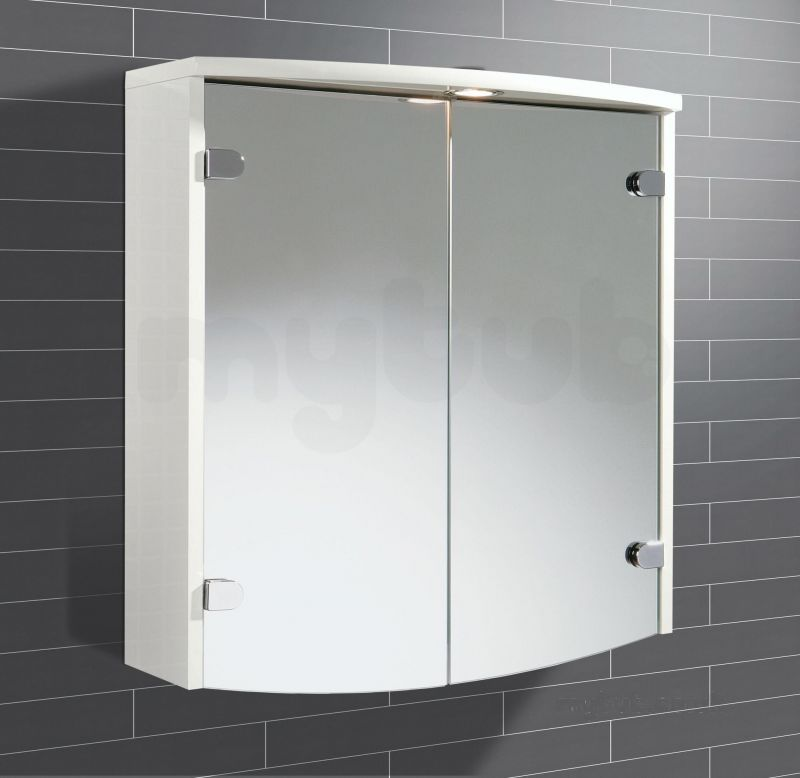 hib 41100 white joba illuminated bathroom cabinet with