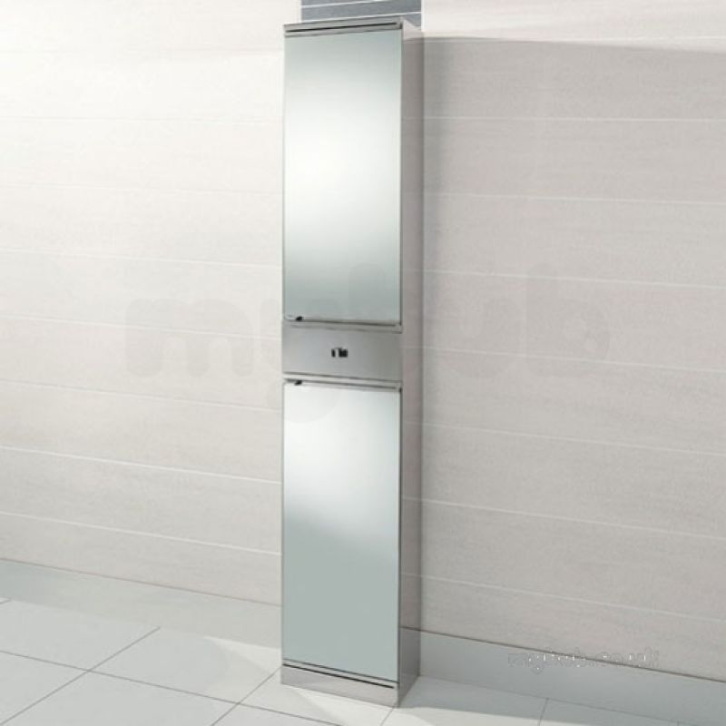 Hib 1043371 Ss Siva Tower Bathroom Cabinet With 2 Mirrored Doors And 1 Storage Drawer Hib