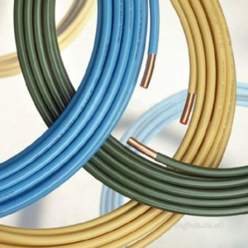 Yellow kuterlex 20 metre yellow plastic coated copper coil for Copper to plastic