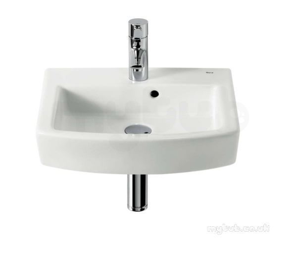 Roca hall 450 x 385mm one tap hole cloakroom basin white for Roca cloakroom basin